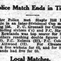 Report about a police cricket match  featuring Police Constable Coldicott from The Citizen July 12th 1929. (Gloucestershire Police Archives URN 9320)
