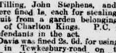 Report of Police Constable Coldicott arresting people stealing fruit in Charlton Kings. From The Citizen September 5th 1915. (Gloucestershire Police Archives URN 9321)