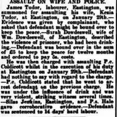 Report about an assault on Police Constable Coldicott  at Eastington. Reported in The  Stroud News February 1st 1907. (Gloucestershire Police Archives URN 9323)