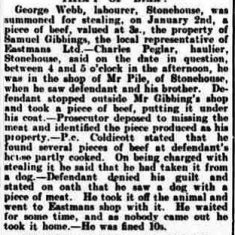 Theft of beef in Stonehouse investigated by Police Constable Coldicott. Reported in The Stroud News February 1st 1907 . (Gloucestershire Police Archives URN 9324)