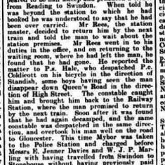 Report of Police Constable Coldicott tracking down a man who had travelled by train without a ticket. From The Stroud News June 5th 1908. (Gloucestershire Police Archives URN 9325)