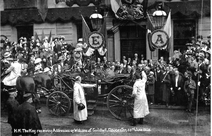 The King at Gloucester Guildhall on 23rd June 1909 . Two senior officers in the bottom left hand corner of the photograph. (Gloucestershire Police Archives URN 9419)