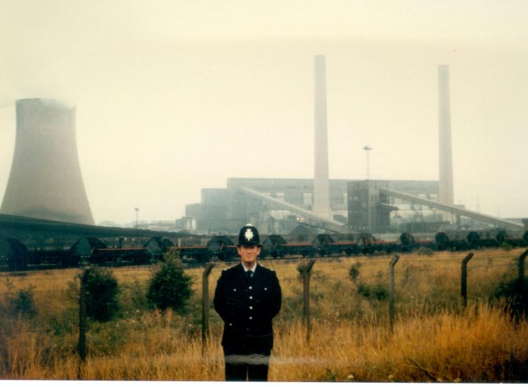 Police Constable  A. Stone in front of Rudford colliery - Miners Strike 1984. (Gloucestershire Police Archives URN 378)