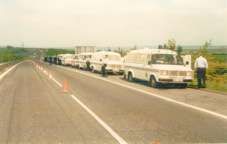 Gloucestershire  Police Personnel Carriers with protective grilles at roadside during Miners Strike 1984. (Gloucestershire Police Archives URN 973)
