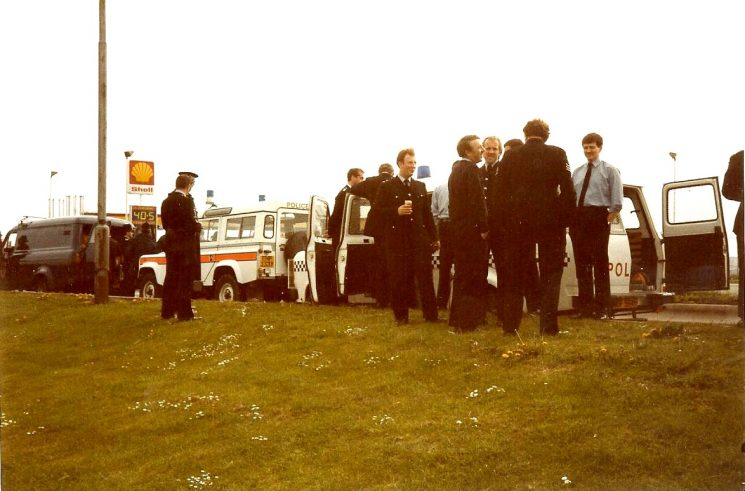 Gloucestershire  personnel carriers at a re-fueling stop,  South Yorkshire Miners Strike 1984.This was a Stroud Unit. (Gloucestershire Police Archives URN 974)