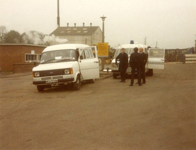 Groups of officers on duty at Miners Strike 1984, Nottingham. (Gloucestershire Police Archives URN 976-1)