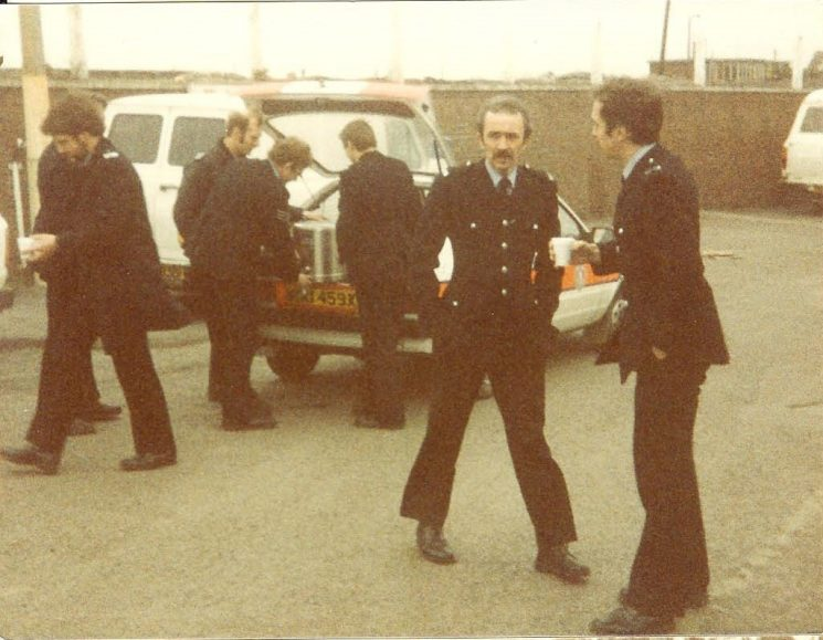Officers on duty in Nottinghamshire during the Miners Strike. (Gloucestershire Police Archives URN 976-2)