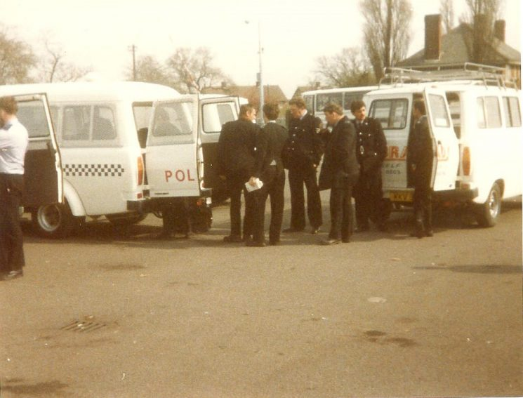 Groups of officers on duty at Miners Strike 1984, Nottingham. (Gloucestershire Police Archives URN 976-2)