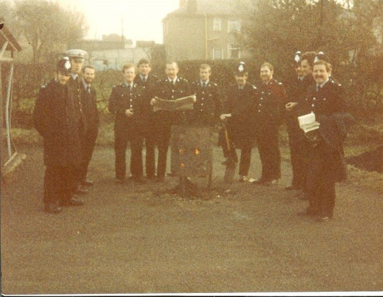 Officers on duty in Nottinghamshire during the Miners Strike. (Gloucestershire Police Archives URN 976-3)