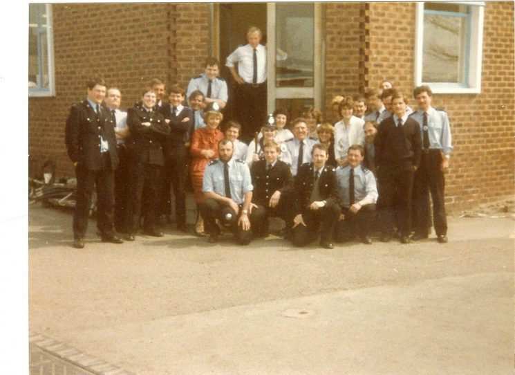 Groups of officers on duty at Miners Strike 1984, Nottingham. (Gloucestershire Police Archives URN 976)