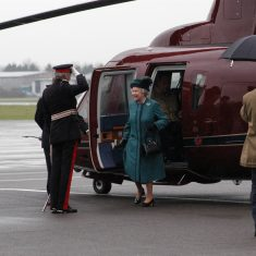 The Queen steps out of the helicopter. (Gloucestershire Police Archives URN 9760)