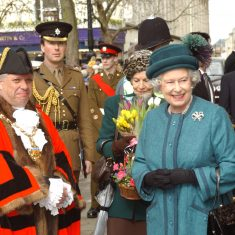 The Mayor and the Queen in the Promenade Cheltenham. (Gloucestershire Police Archives URN 9771)
