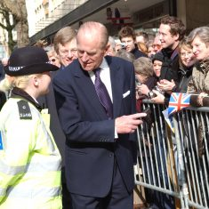 The Duke of Edinburgh talks to the police. (Gloucestershire Police Archives URN 9774)