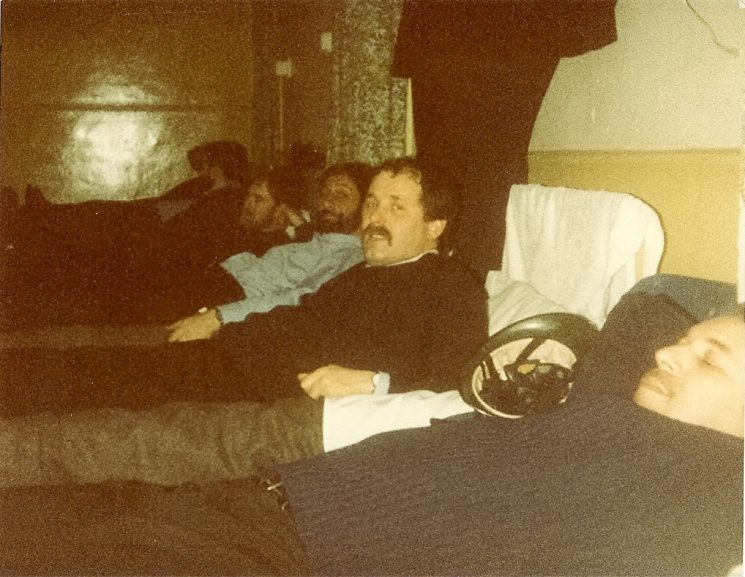 Officers at rest during Miners Strike 1984. (Gloucestershire Police Archives URN 981)
