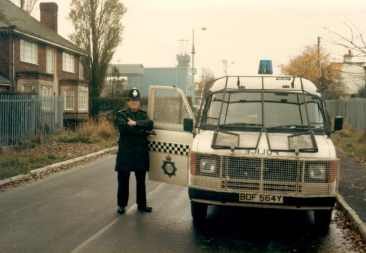 Gloucestershire Constabulary   personnel carrier equipped with riot protective gear at Coventry during Miners Strike 1984 with Police Constable  Andy Stone. (Gloucestershire Police Archives URN 989)