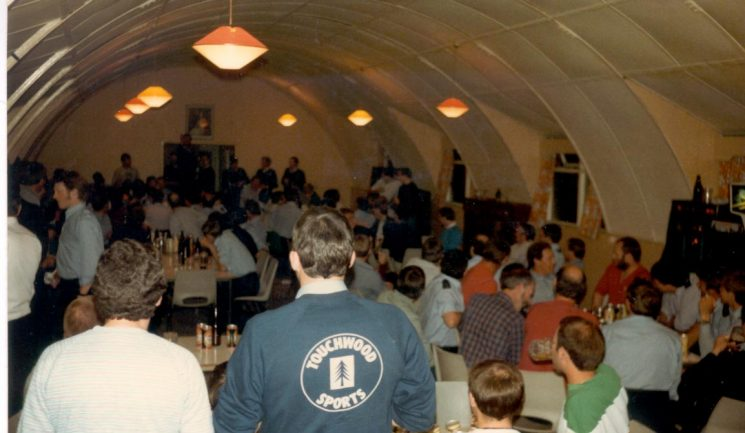 Miners Strike 1984. The mess hut at Proteus Camp in Nottinghamshire. (Gloucestershire Police Archives URN 994)