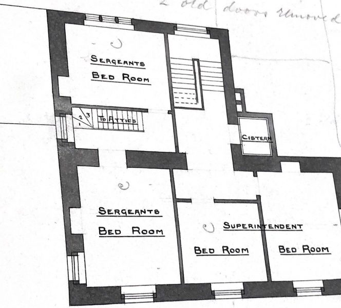Second floor including Superintendents bed room (Gloucestershire Police Archives URN 10011)