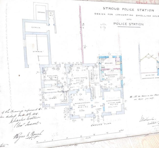 Plans for conversion of dwelling into Stroud Police Station. (Gloucestershire Police Archives URN 9995)