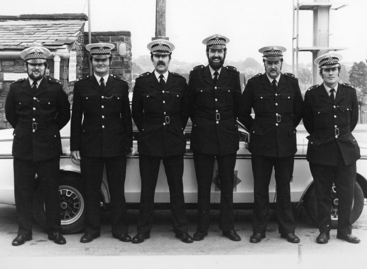 Lydney Traffic 1978. From the left Malcolm Cameron, John Wilcox, Tudor Davies, John Bryant, Mike Simpson and John Goodman. (Gloucestershire Police Archives 10024) | Photograph from John Bryant