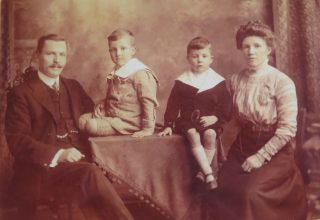 Joseph and Olive Goulder with their sons Joseph Lovell Goulder born 29th November 1906 in Downend and George Edward Goulder born 21st September 1909  Downend. (Gloucestershire Police Archives 10033)