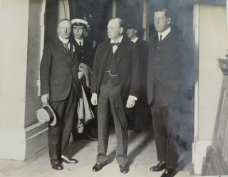 Visit of Winston Churchill to Gloucestershire thought to be 1928. Superintendent Goulder to the left of the photograph (Gloucestershire Police Archives 10036)
