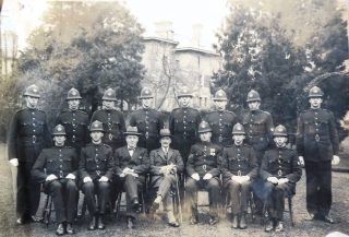 Joiners photograph taken at the back of Headquarters Chief Constable Stanley Clark, Deputy Chief Constable Goulder. (Gloucestershire Police Archives 10041)