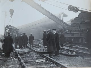 Superintendent Goulder at the scene of a railcrash thought to be Charfield 1928. (Gloucestershire Police Archives 10063)