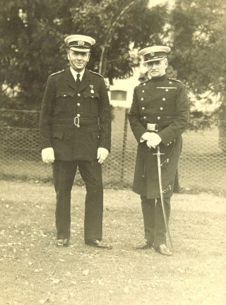Chief Constable Major FL Stanley-Clarke with Deputy Chief Constable Joseph WP Goulder. This would have been between 1935 when Deputy Chief Constable Goulder was promoted Deputy Chief Constable and 1937 when Chief Constable Stanley Clarke retired. (Gloucestershire Police Archives 1488)