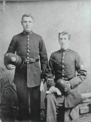 Joseph WP Goulder as a police constable, on the left, with another, possibly more senior, officer - 1898-1901 in Cheltenham. (Gloucestershire Police Archives 1863-1)