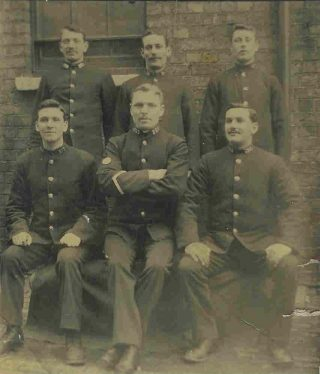 Joseph WP Goulder as a  police constable with 10 year  stripe, at Staple Hill  1906. (Gloucestershire Police Archives 1863-2)