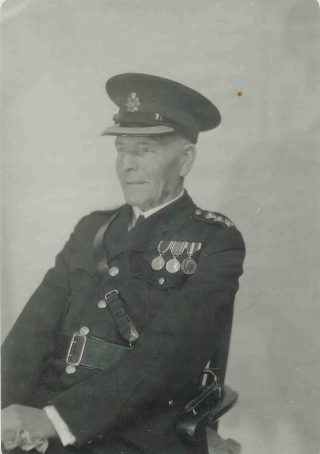 Joseph WP Goulder with medals including  Kings Police Medal. He was awarded the Kings police medal in 1944 and retired in 1945. (Gloucestershire Police Archives 1863-7)