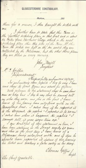 Statements  from Police Sergeant Hazell and Superintendent Griffin about Police Constable Neems neglect of duty. (Gloucestershire Police Archives URN 10244-10)