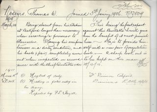 Thomas Neems dismissed for neglect of duty. (Gloucestershire Police Archives URN 10244)