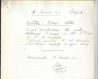 Statement from Police Constable Neems withdrawing his previous statement and admitting the neglect of duty charge. (Gloucestershire Police Archives URN 10244-4)