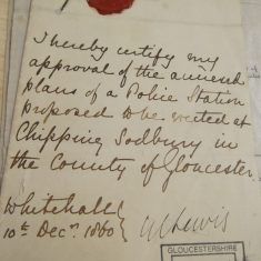 Document with seal related to Chipping Sodbury Police Station(Gloucestershire Police Archives URN 10287-7)