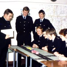 Standing from left Sergeant David Long, Andy Taylor officer on right unknown. Seated from left Police Constables Ian Lewis, Rod Wells, Mike Jones, Jane Benson and  Pete Walker. (Gloucestershire Police Archives URN 10316)