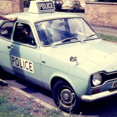 This would have been 1974. It is at the rear yard entrance to Talbot House. The saloons replaced the previous Escort Panda Vans mid 1974. (Gloucestershire Police Archives URN 10348)