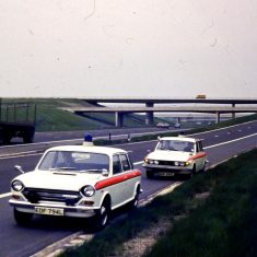 Austin 2200 and  a Triumph 2.5 PI M5 junction 11, southbound entry slip road 1972. (Gloucestershire Police Archives URN 10356)