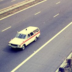 Volvo 145 Estate patrol car on motorway. (Gloucestershire Police Archives URN 10357)