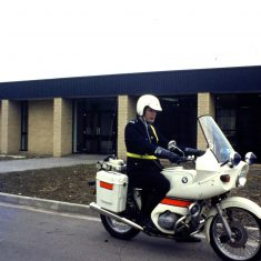 Police Constable John William Lane Bamfurlong, 1978 on a BMW R75/7. (Gloucestershire Police Archives URN 10368)