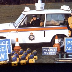 Two traffic officers  and  Range Rover showing the equipment carried. (Gloucestershire Police Archives URN 1070)