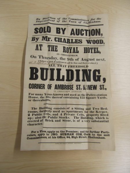 Sale of a police station at the junction of Ambrose Street and New Street Cheltenham to include cells and stocks, thought to be in the 1880s. (Gloucestershire Police Archives URN 10412) | Thanks to Geoff Bridgman