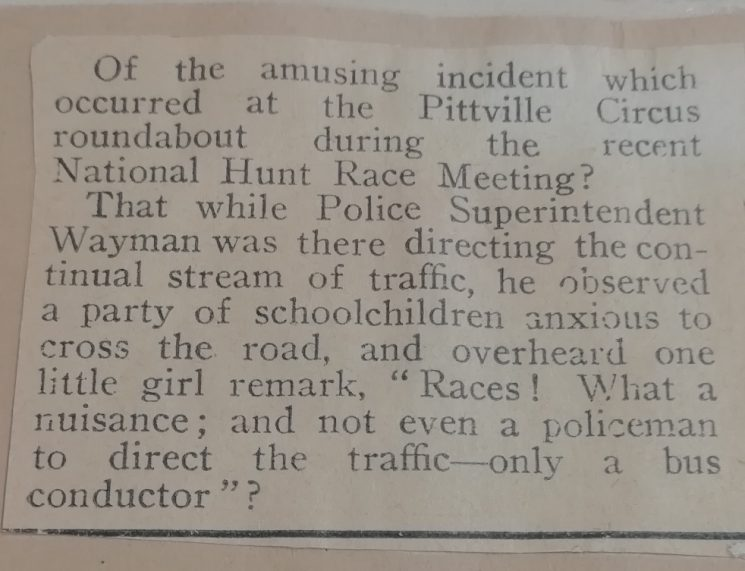 Story about a Superintendent directing traffic April 1937 (Gloucestershire Police Archives URN 10285)