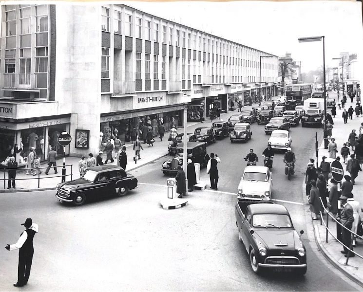 Officers in Cheltenham directing traffic at the junction of High Street and Pittville Street thought to be 1960s(Gloucestershire Police Archive URN 10465)