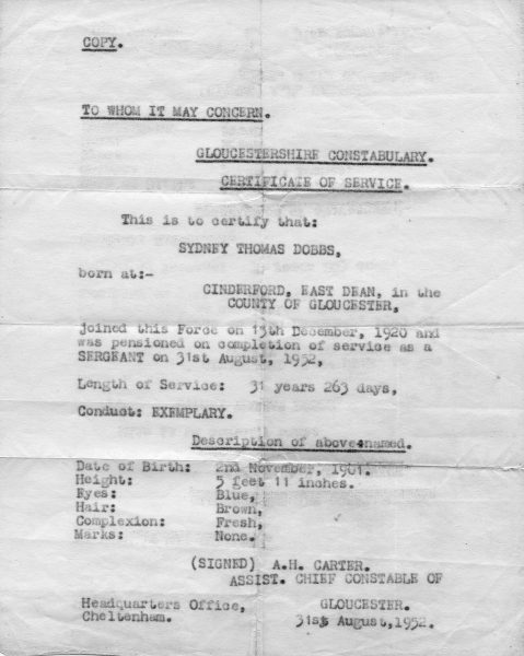 Copy of certificate of service for Sydney Dobbs who served in Gloucestershire Constabulary from 1920-1952. (Gloucestershire Police Archives URN 610472)