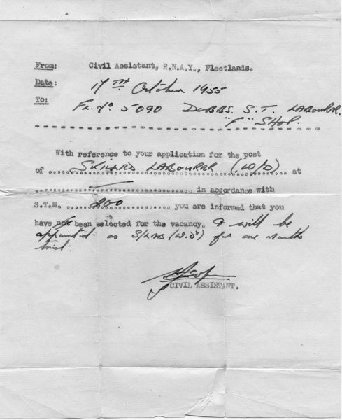 Retired Sergeant Dobbs 1955 appointment to work as a skilled labourer. (Gloucestershire Police Archives URN 10474)