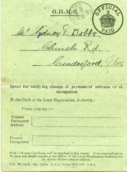 Identity card belonging to Sydney Dobbs. (Gloucestershire Police Archives URN 10475-1) | Ray Ricketts