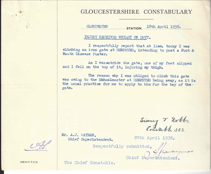 Document related to injury on duty from the personnel file of Sydney Dobbs. (Gloucestershire Police Archives URN 10502)