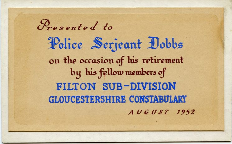 Retirement presentation citation to Police Sergeant Sydney Dobbs on his retirement from Filton subdivision. (Gloucestershire Police Archives URN 8172)