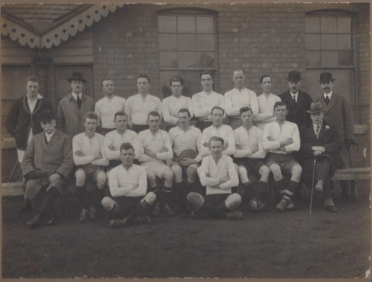 Back row left to right: AT Voyce, Police Constables Hayward. Morris, Hyam, Detective Constable Hart, Police Constables Grinnell, Creed, Lodge, Inspectors Williams and AW Hopkins. Front row from left: Deputy Chief Constable Hopkins, Police Constables Willmott, Smith, Dobbs, Gladwell (capt)Crowther, Morse, Hicks Mayor CE Gardner. On the ground Police Constables Greenslade and Hancock. (Gloucestershire Police Archives URN 8933)